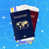 Biometric passport and airline tickets vector illustration