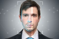 Biometric scanner is scanning face of young man. Detection and recognition concept. vector illustration