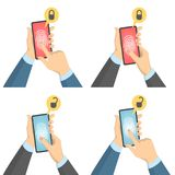 Biometric scanner set. Hand with finger on smartphone Royalty Free Stock Photos