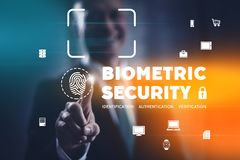 Biometric security indentification and authentication. Biometric security concept with fingerprint identification scan and facial recognition. Businessman stock photography