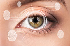 Biometric security retina scanner. Young woman eye fingerprint, imprint. Royalty Free Stock Photos