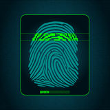 The biometric system of fingerprint scanning - security devices. Fingerprint scanning - digital security system, access Stock Photos