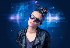 Biometric verification - woman face detection stock images