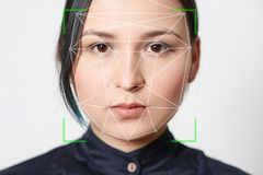 Biometric verification woman face recognition detection security royalty free stock photos