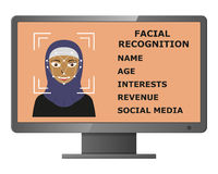Biometrical identification. Face recognition. Royalty Free Stock Images