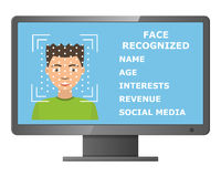 Biometrical identification. Face recognition. Royalty Free Stock Photo