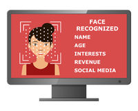 Biometrical identification. Face recognition. Stock Photography