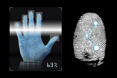 Biometrics. Hand scanning with fingerprints analyzing Royalty Free Stock Image