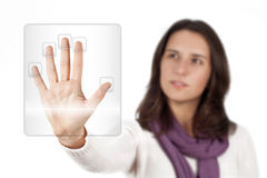 Biometrics. Woman scanning her hand for access.Focus on foreground. White background Stock Images