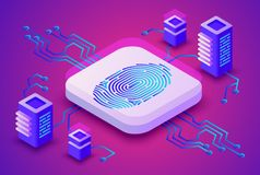 Biometrics blockchain technology vector illustration. Of digital fingerprint security for cryptocurrency concept. Data communication server and secure access Stock Photo