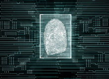 Biometrics concept. Abstract circuit background with finger print. Biometrics concept. 3D Rendering Royalty Free Stock Image