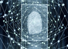 Biometrics concept. Abstract digital finger print background. Biometrics concept. 3D Rendering Stock Photo