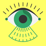 Biometrics eye scanner flat style before entry Stock Image