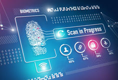 Biometrics Fingerprint Scanning. Fingerprint scan security system and technology concept Stock Images