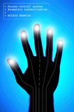 Biometrics - hand identification. Security concept - biometrics and hand identification Royalty Free Stock Images