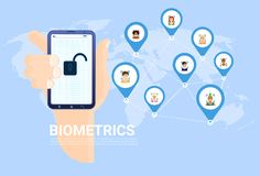 Biometrics Scanning Concept Hand Hold Smart Phone Over World Map With Users Background Facial Recognition System Stock Photography