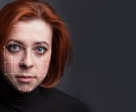 Biometrische Überprüfung - Frauen-Gesichts-Entdeckung, stockbilder