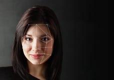 Biometrische Überprüfung - Frauen-Gesichts-Entdeckung, stockfoto