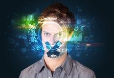Biometrische identificatie en Gezichtserkenning royalty-vrije stock afbeeldingen