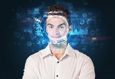 Biometrische identificatie en Gezichtserkenning stock illustratie