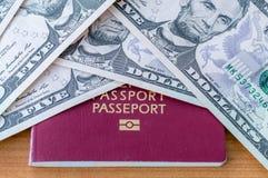 Biometrischer Pass und fünf Dollar Banknoten Stockbild