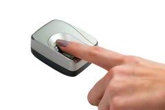 Biometrischer Scanner getrennt auf Weiß Stockfotografie