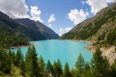 Bionaz Lake on Aosta Valley. View of the Bionaz Lake, place moulin Royalty Free Stock Photos