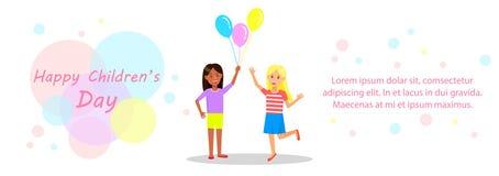 Bionda felice e ragazze castane che tengono i palloni illustrazione di stock