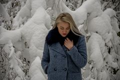 Bionda nella foresta di inverno Immagine Stock Libera da Diritti