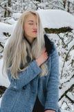 Bionda nella foresta di inverno Fotografia Stock