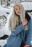 Bionda nella foresta di inverno Fotografie Stock
