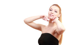 Bionda vaga Chiuda sul ritratto Giovane modello biondo femminile Blu Immagine Stock