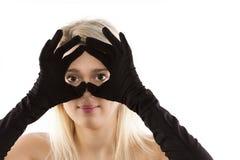 Bionde nere dei guanti Fotografie Stock Libere da Diritti