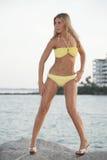 Biondo in un bikini fotografie stock