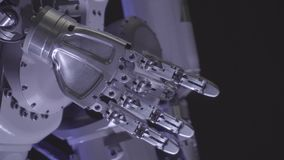 Bionic arm of robot. Innovative robotic hand. Futuristic technology. Cyborg close up stock video