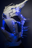Bionic armor with blue LED lights and plastic materials. Machine, bionic armor with blue LED lights and plastic materials, future stock images