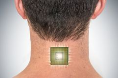 Bionic chip processor implant in male human body. Future technology and cybernetics concept stock photos