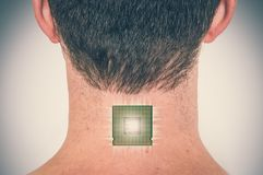 Bionic chip processor implant in male human body. Future technology and cybernetics concept - retro style stock photo
