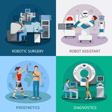 Bionic 2x2 Design Concept With Robotic Equipment. Bionic 2x2 design concept with robotic surgery  diagnostic equipment orthopedic prosthetics compositions flat Royalty Free Stock Photos