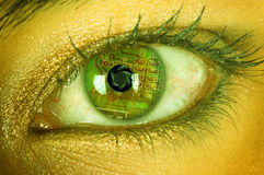 Bionic eye. With circuits and diaphragm royalty free stock photos