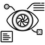 Bionic eye prosthesis line icon stock illustration