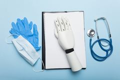 Bionic medical hand prosthesis. Amputation of arm.  royalty free stock images