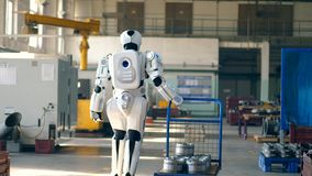 Bionic robot pulls a cart, walking in a factory room. 4K stock video