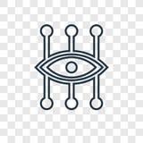 Bionic szkła kontaktowe pojęcia wektorowa liniowa ikona odizolowywająca na trans ilustracji