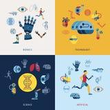 Bionics and artificial intelligence icon set. Digital vector bionics and artificial intelligence icon set infographics Stock Photos