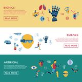 Bionics and artificial intelligence icon set. Digital vector bionics and artificial intelligence icon set infographics Royalty Free Stock Photo