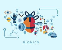 Bionics and artificial intelligence icon set. Digital vector bionics and artificial intelligence icon set infographics Stock Images