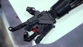 Bionisch wapen in actie stock videobeelden