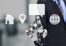 bionische hand die op de interface van het contactpictogram richten Royalty-vrije Stock Foto's