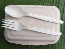 bioplastic匙子叉子和一次性午餐盒在香蕉生叶 库存照片